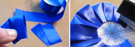 "Making ribbon awards, use this easier idea for getting the ""petals aligned"" and attached to the backing -- with staples."