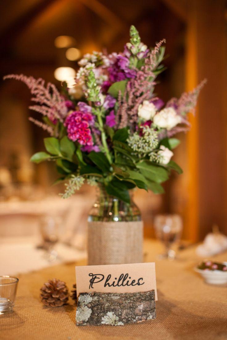Rustic vintage pink purple wedding mason jar