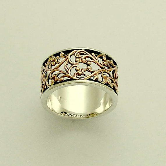 Sterling silver and rose gold filigree lace  wedding band - Karma.