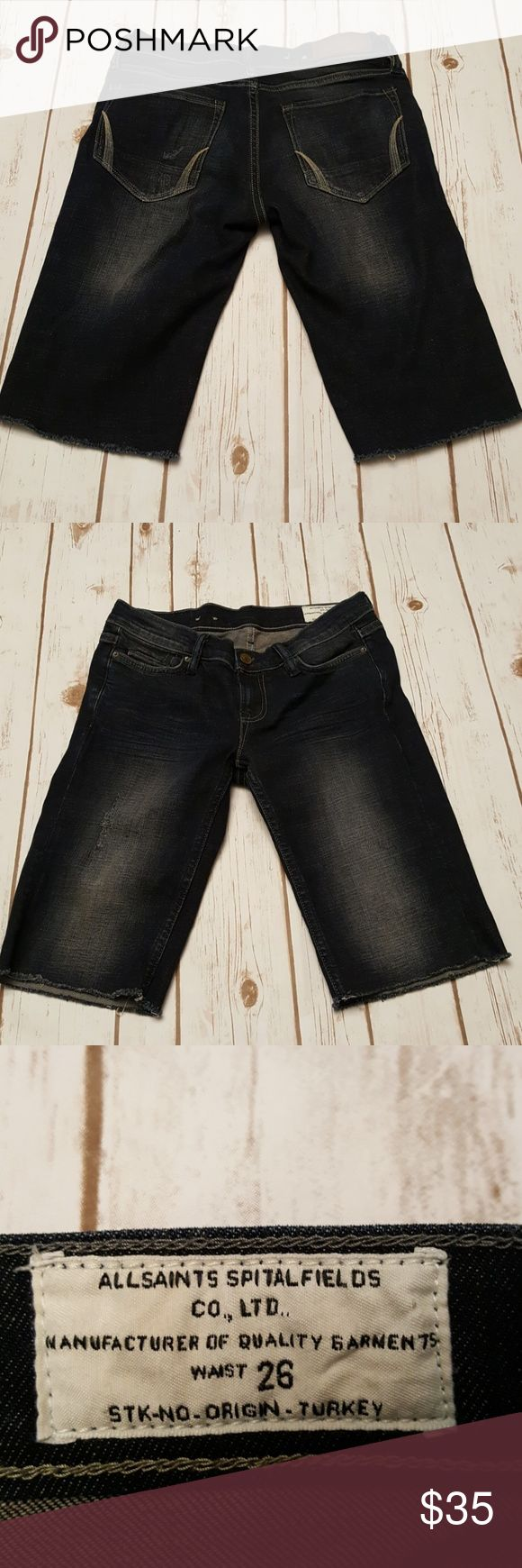 AllSaints Long Denim Shorts Skinny fit shorts Slightly stretchy Good used condition All Saints Shorts Jean Shorts