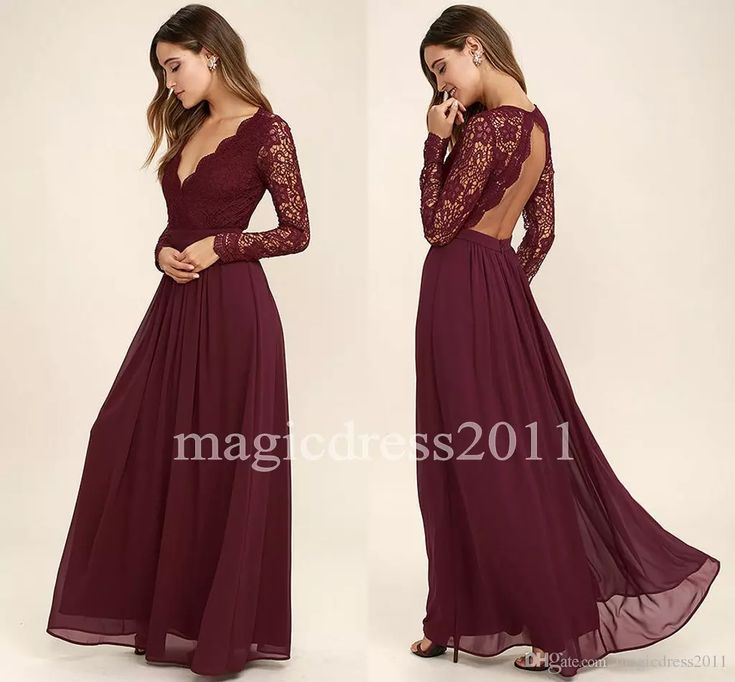 2017 Lace Bodice Burgundy Bridesmaid Dresses Chiffon Skirt Illusion Bodice Long Sleeves A-Line Junior Bridesmaid Dresses Cheap for Sale New Bridesmaid Dresses Cheap Bridesmaid Dresses Long Maid of Honor Dress Online with $64.0/Piece on Magicdress2011's Store | DHgate.com