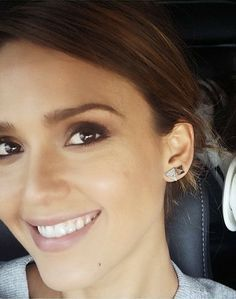 Jessica Alba in the TOMTOM Rose Gold Square Studs