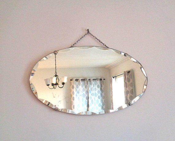 Antique Mirror Art Deco Wall Hanging, How To Hang Vintage Mirror On Chain