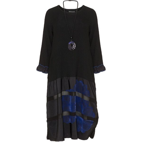 zedd plus Black / Blue Plus Size Velvet appliqué dress and necklace ($160) ❤ liked on Polyvore featuring dresses, black, plus size, blue dresses, long sleeve velvet dress, velvet midi dress, blue jersey and plus size midi dresses