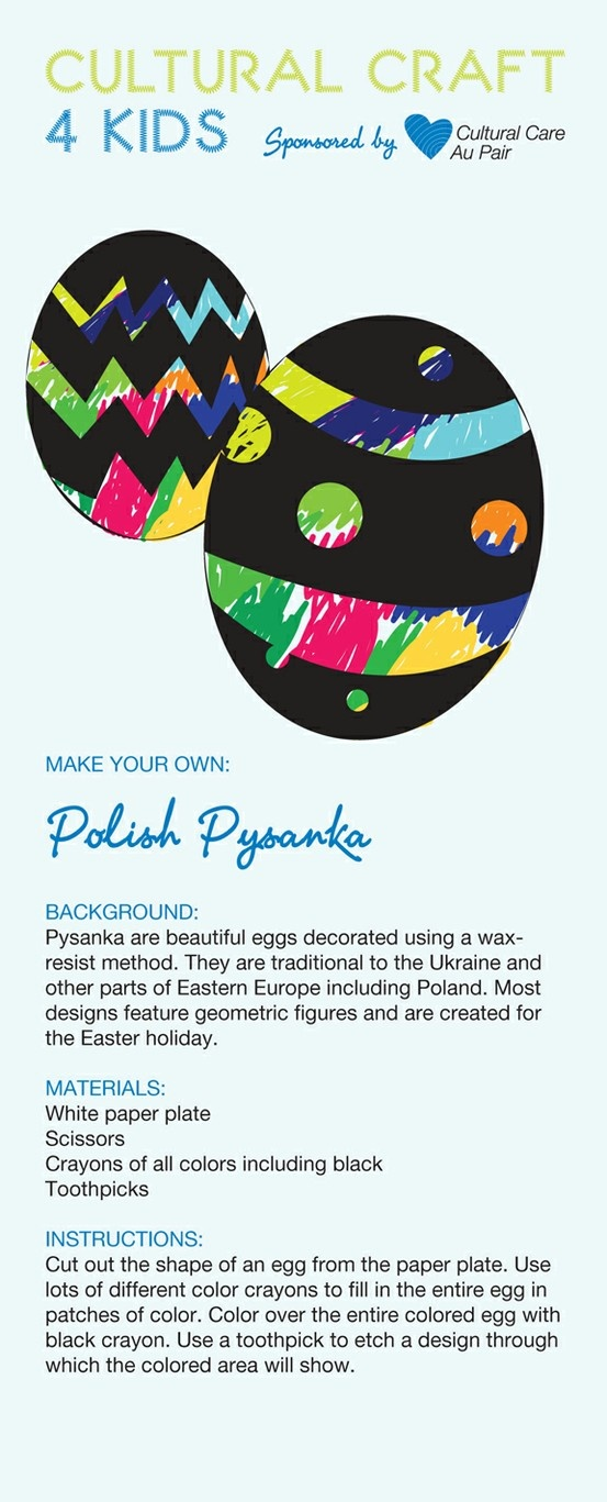 Download your free Easter Crafts template from Cultural Care Au Pair and learn how to make this easy Polish Easter Egg craft with your kids.  http://aupairbuzz.culturalcare.com/easter-crafts-for-kids-polish-easter-eggs-pysanska/