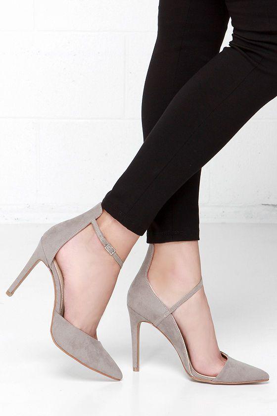 Mia Mona Grey Suede D'Orsay Heels//
