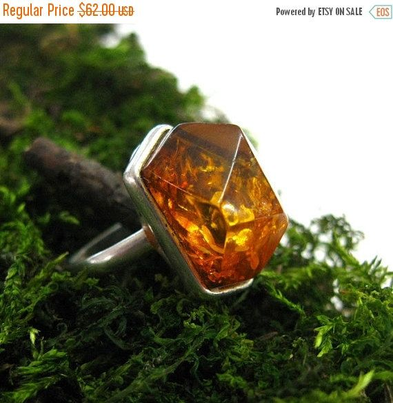 Your BEST GIFT Vintage Baltic Amber cocktail ring abstract modernist jewelry Russian unique vintage size 9  ring 1990s  collectible jeweller
