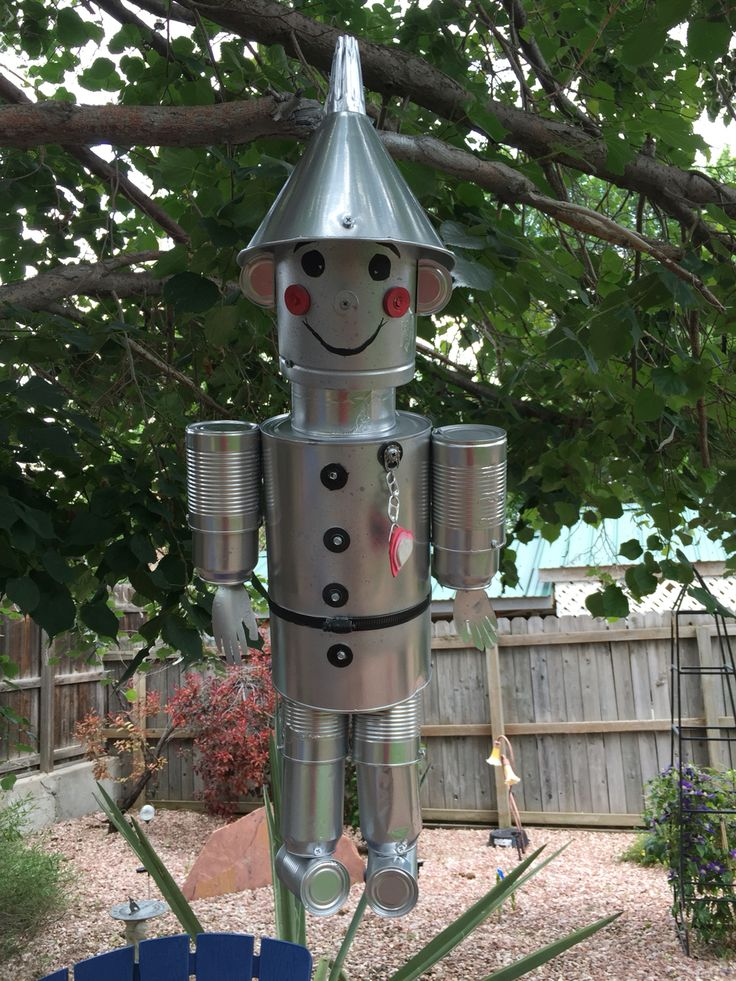 Tin man from tin cans and a funnel.