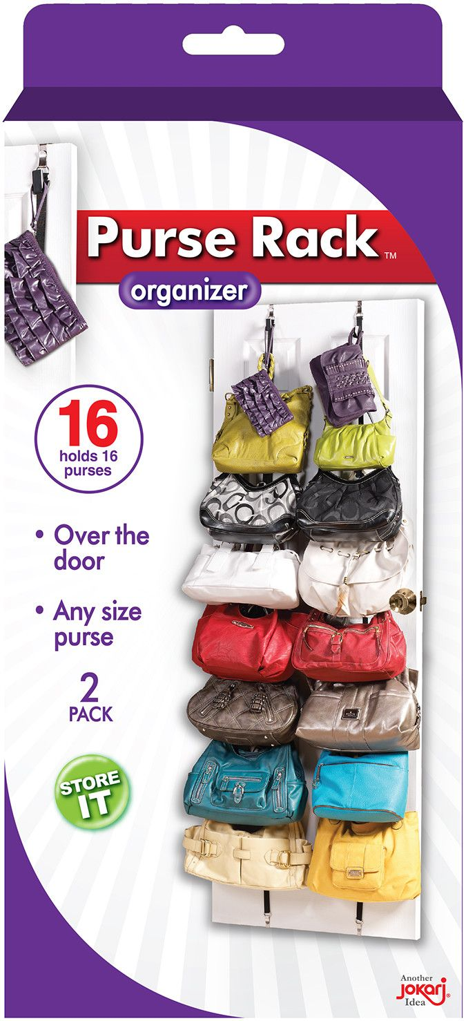 organize and store handbags with the jokari purse rack eight adjustable hooks per rack hold