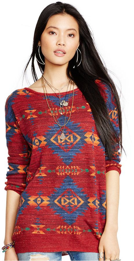 Denim & Supply Ralph Lauren Southwestern-Print Crew-Neck Sweater