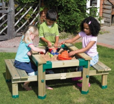sandpit table for young children, made like picnic table