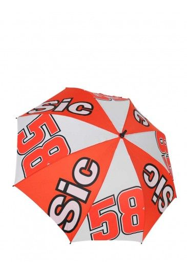 The Marco Simoncelli umbrella is the must-have accessory for rainy days. A large umbrella in alternating red and white. The red wedges feature the Sic lettering and the white wedges bear Marco's race number 58.