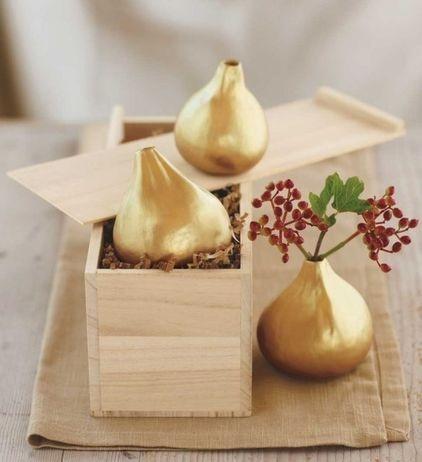 Gilded fig vases - wonderful shape.  eclectic vases by VivaTerra