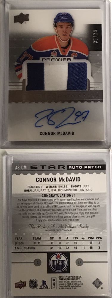 Ice Hockey Cards 216: 2016-17 Upper Deck Premier Acetate Stars Auto Patch Connor Mcdavid 6 25!!! Sick! -> BUY IT NOW ONLY: $995.99 on eBay!