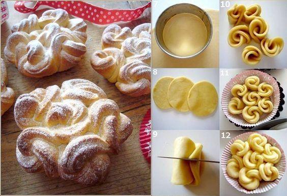 Le brioche a forma di fiore sono un tipo di dolce molto buono, una vera delizia per il palato. INGREDIENTI: 400 gr di farina, 100 gr di burro morbido, 3 tuorli d'uovo, 1 bicchiere di latte caldo, 5 cucchiai di zucchero, 1 bustina di lievito per dolci.PREPARAZIONE: Prendete una ciotola e versateci dentro il latte …