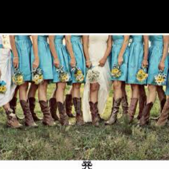 Sweet but dirty- classy but country: Cowgirl Boots, Ideas, Cowboy Boots, Bridesmaid Dresses, Colors, Cowgirlboot, Country Wedding, Cowboys Boots, The Dresses