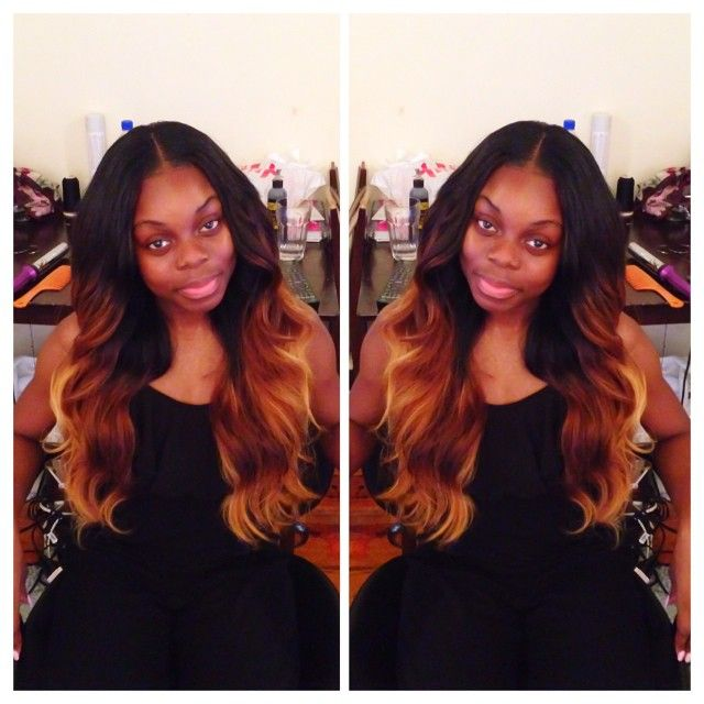 Partial sew in w/ middle part.