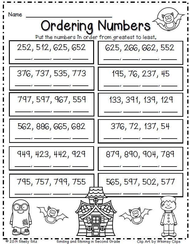 Halloween Math for second grade--ordering numbers
