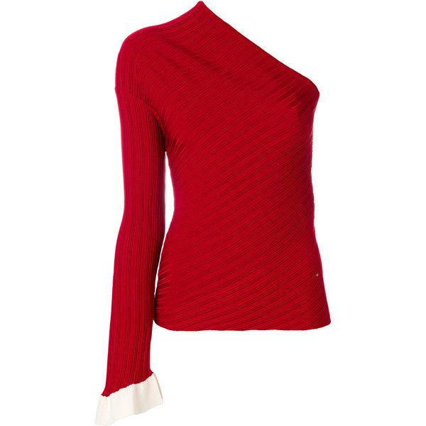 Esteban Cortazar one-sleeve jumper (30 080 UAH) ❤ liked on Polyvore featuring tops, sweaters, red, off one shoulder tops, one sleeve top, one shoulder tops, off one shoulder sweater and one sleeve sweater