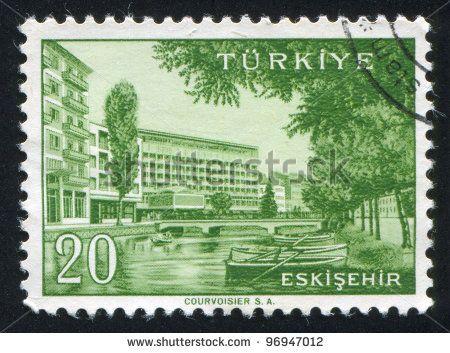 TURKEY - CIRCA 1959: stamp printed by Turkey, shows Turkish city, Eskisehir, circa 1959. - stock photo