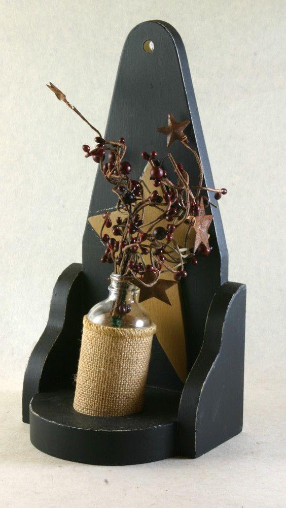 Primitive Handmade Gathering with Bottle and Shelf