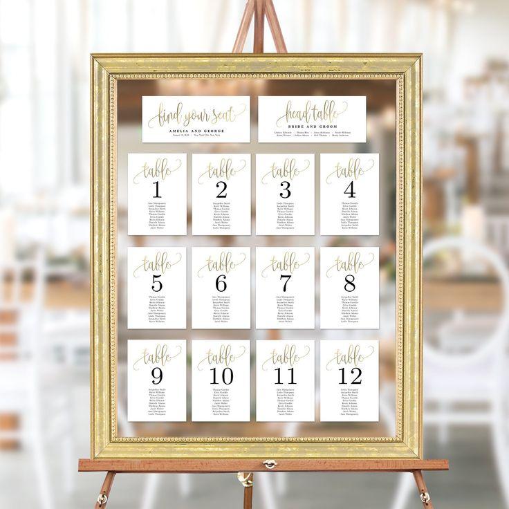 Wedding Seating Chart Template Set Printable Table Seating