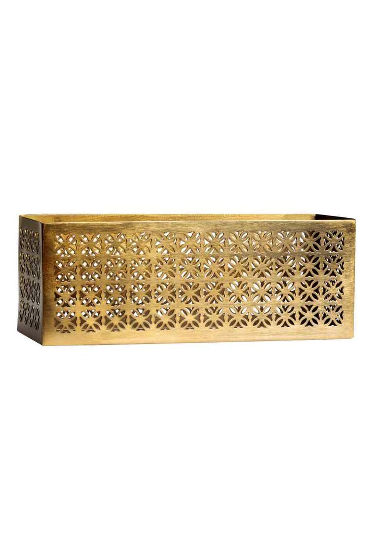 Caja de almacenaje en metal: Caja rectangular de almacenamiento en metal perforado. Medidas 10x11x30 cm.