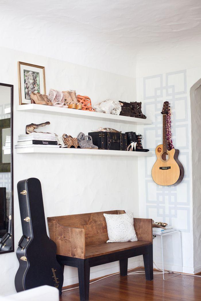 Mount your talents   #Guitar: Decor, Entry Spots, Benches, Shoes Shelves, Shoes Guitar, Apartment Ideas, White Shelves, White Wall, Shoe Shelves