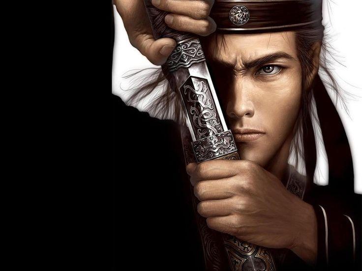 Скачать картинки клинок, взгляд, меч, самурай, воин, Мужчина, бесплатно картинка - 1280x1024