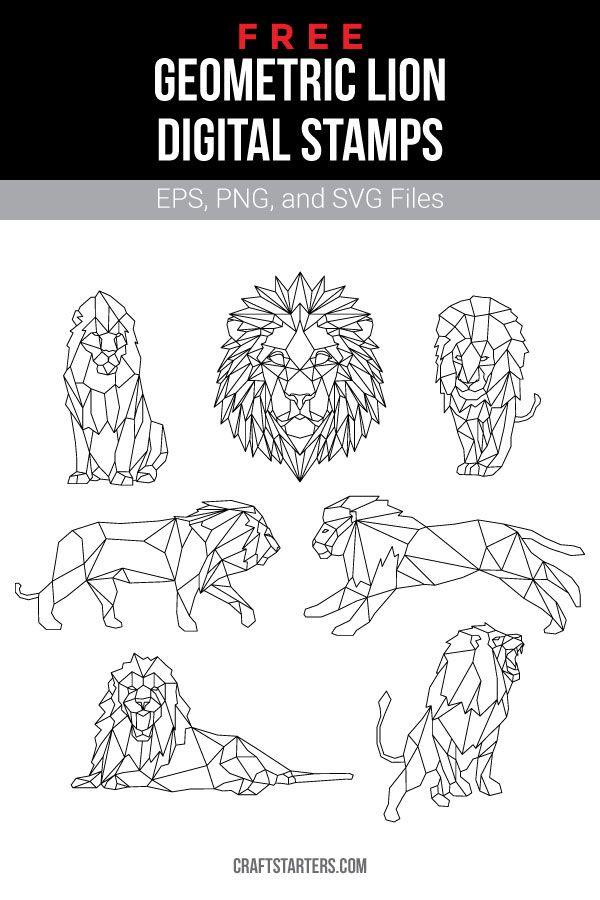 Free Geometric Lion Digital Stamps Geometric Lion Lion Drawing Simple Geometric Drawing
