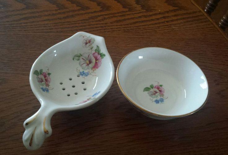 Vintage Crown Victorian Porcelain Fine China Tea Strainer Set w/Floral Motif. | Home & Garden, Kitchen, Dining & Bar, Small Kitchen Appliances | eBay!