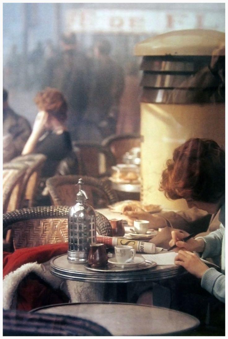 """frenchvintagegallery: """" Café , Paris, 1959 by Saul Leiter """""""
