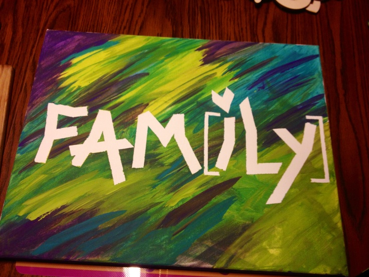 Canvas tape painting made and painted by my toddler and myself! Fun for all ages!! =] ❤  *idea via Pinterest, except I changed the typical LOVE saying to Fam[iLY] with My own special twist!*