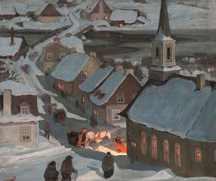 Clarence Gagnon (1881–1942). Midnight Mass. Oil on paper laid on wood. 18.8 x 22.7 cm