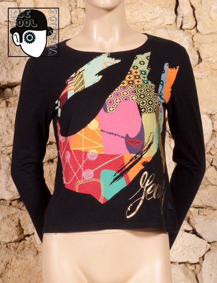 CHRISTIAN LACROIX -  JEANS  LONG SLEEVED BEADED T-SHIRT - UK 10 or 12 - (Z)
