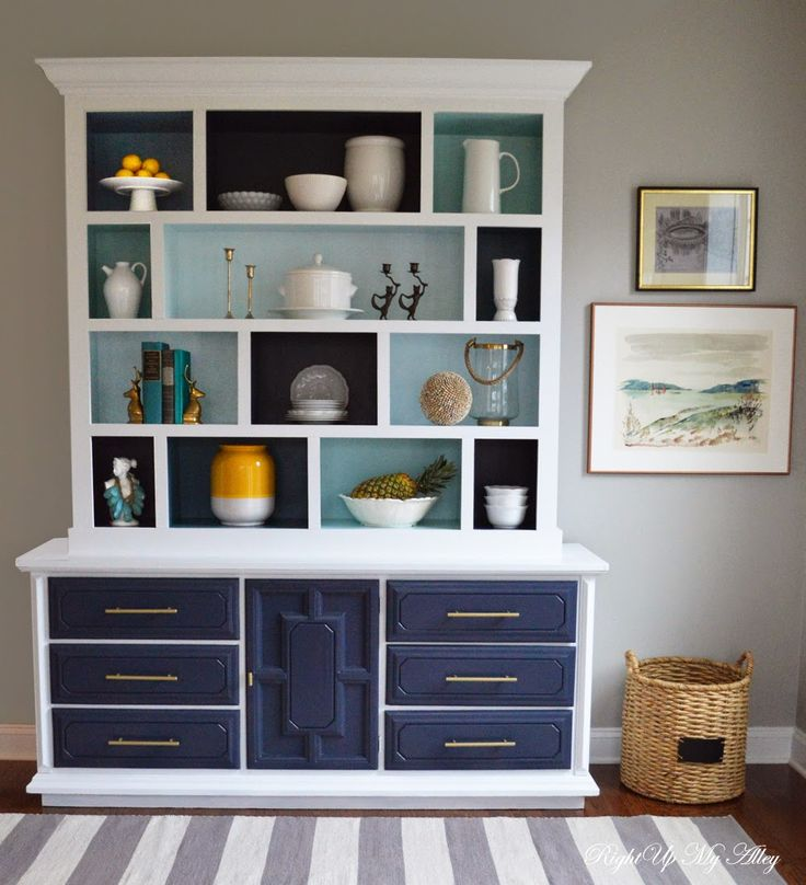 Right Up My Alley Tutorial DIY Color Block Hutch Benjamin Moore Hale Navy