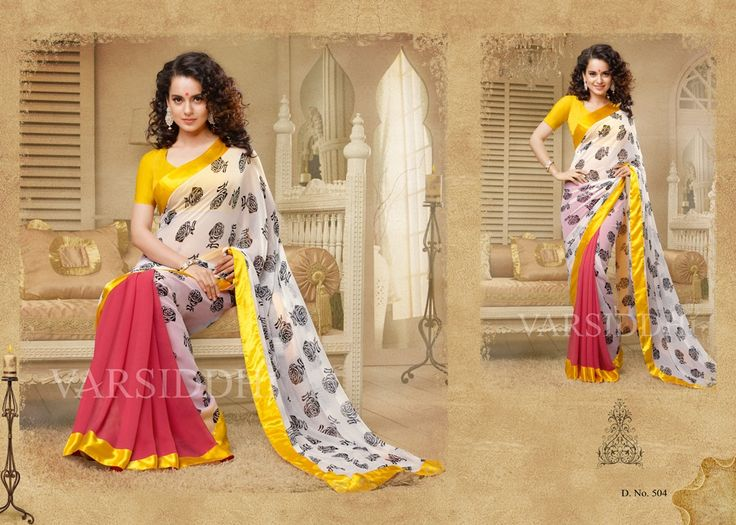 Kangana Ranaut Pure Georgette Saree with Chiffon Blouse (CATALOG - 5266)