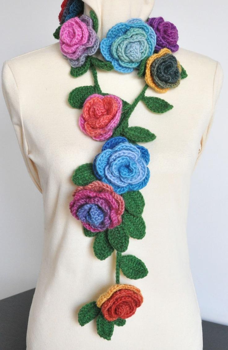 ROSA Crochet Multicolor Roses Scarf/Lariat/Belt by jennysunny