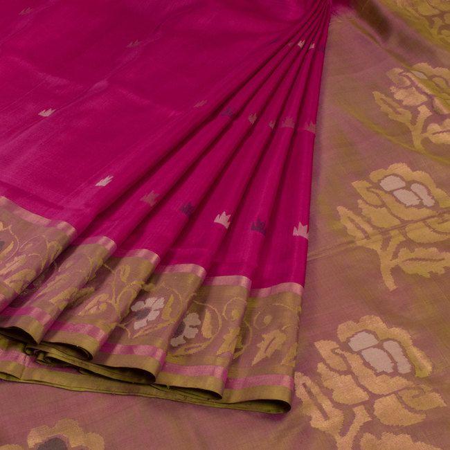 Ghanshyam Sarode Magenta Handwoven Uppada Jamdani Silk Saree With Floral Motifs 10009452 - profile - AVISHYA.COM