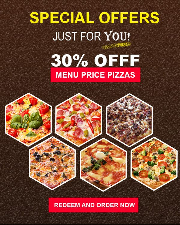 Get the 30% Flat Off on Menu Price Pizzas - Order your favorite Dominos Pizza from the Menu & Enjoy the delicious Pizzas with great discount. Hurry Up! give the special treat and make some moment with your buddies. Save 30% on each Pizza purchase.