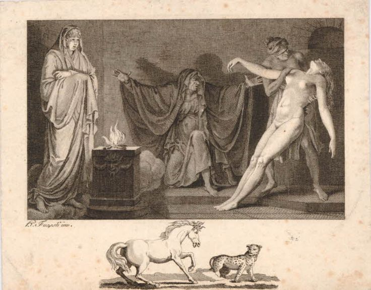 The Witch of Endor summoning up the spirit of Samuel, crouching in the centre with her arms outstretched, the ghost standing at left on clouds behind an altar, a right a female nude faints into the arms of a soldier, replacing the figure of Saul in the copied print; remarque of a horse and leopard in the margin below image; after an engraving by Holloway from a drawing by Fuseli (Schiff 373)  Engraving and etching