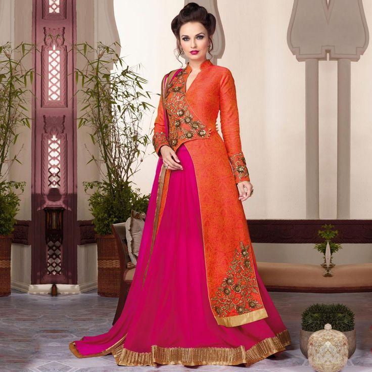 Orange - Magenta Raw Silk Lehenga Suit
