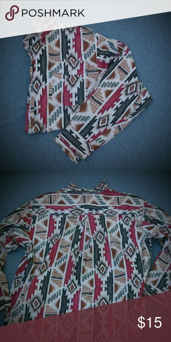 Aztec Shirt Long sleeves, button up retro Aztec rodeo shirt! Great shirt with brown, maroon, green and black Aztec design throughout. Two pockets on the from and little button down tabs on the shoulders. Super cool 90's style shirt! Rafter JX Tops Button Down Shirts