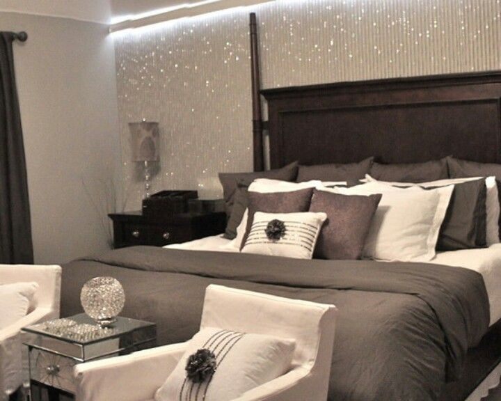 Glitter wallpaper my new bedroom pinterest love it for Grey wallpaper bedroom