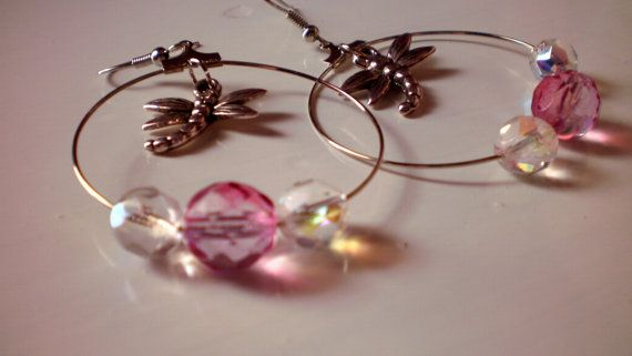 Hoops   Dragonflies / spring / ready to ship by KaterinakiJewelry