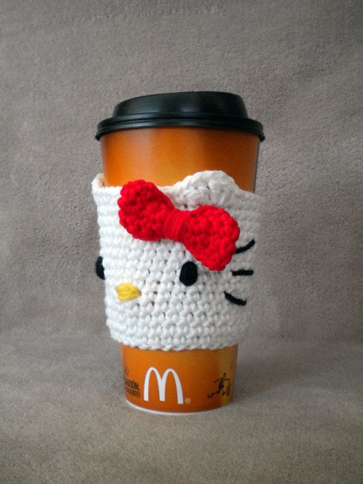 Hello Kitty coffee cozy [not a pattern, but I think I can figure it out]: Kitty Inspiration, Idea, Cups Cozy, Memorial Cups, Cozy Memorial, Crochet Patterns, Memorial Kitty, Hello Kitty, Coffee Cozy