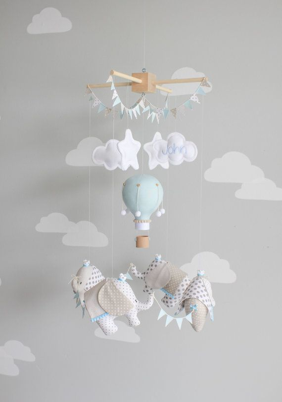 Baby Mobile, Elephant and Hot Air Balloon, Travel Theme Nursery Decor, Ceiling Mobile, i153