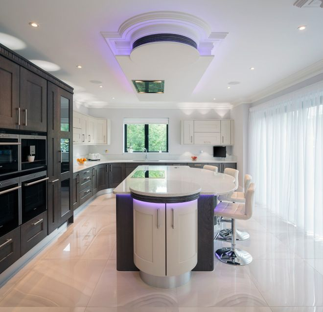 Trend Watch: 13 Kitchen Looks Expected To Be Big In 2015   Bulkhead With  Decorative Molding, Exotic Zebrawood Detailing And Colored LED Lighting Part 85