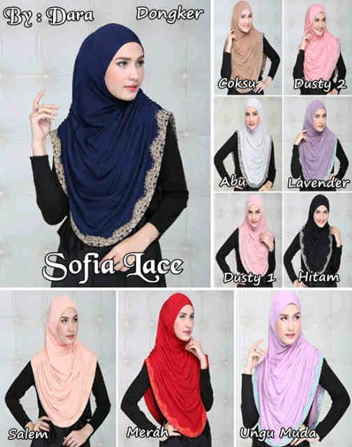 Hijab Instant Sofia Lace  Hijab instant syar'i dengan aksesori kerut samping dan renda di sekeliling  Bahan : jersey