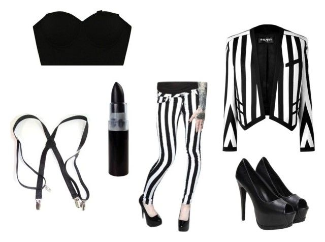 """""""Female BeetleJuice"""" by candyndstuff ❤ liked on Polyvore featuring Balmain"""
